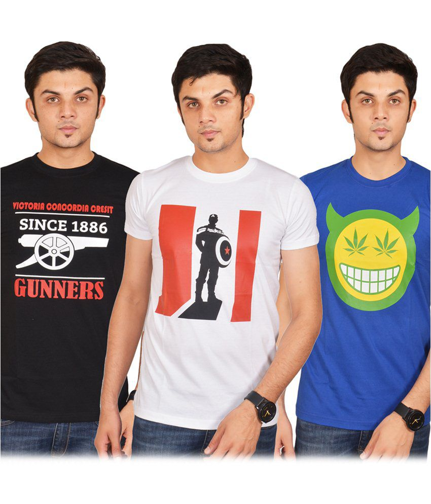 Swag Theory Multicolour Cotton T-shirt Pack Of 3