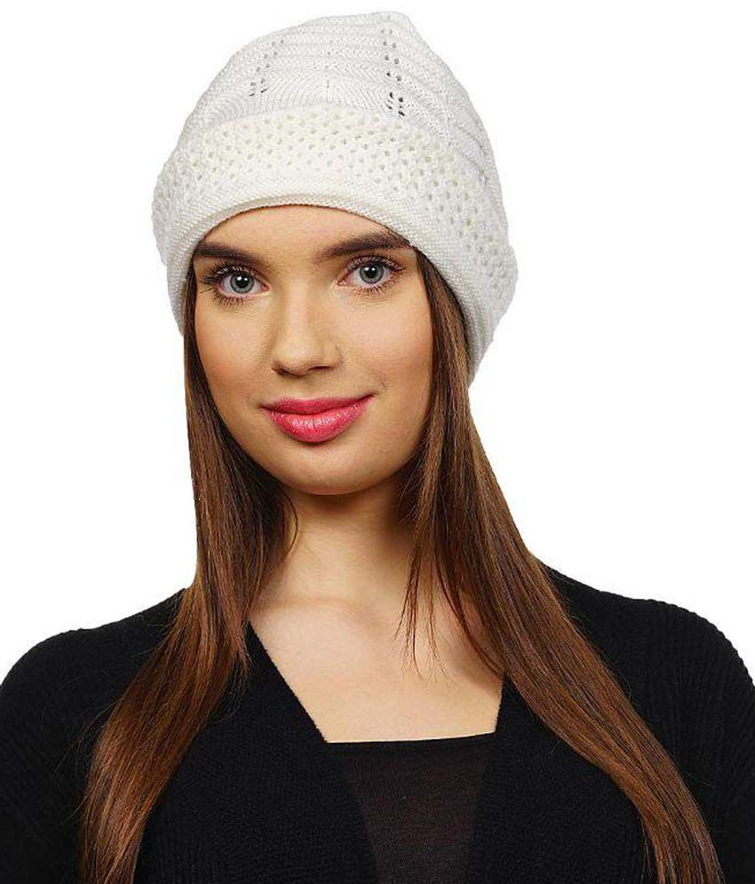 Denovo White Winter Cap For Women  Buy Online at Low Price in India -  Snapdeal d301883846