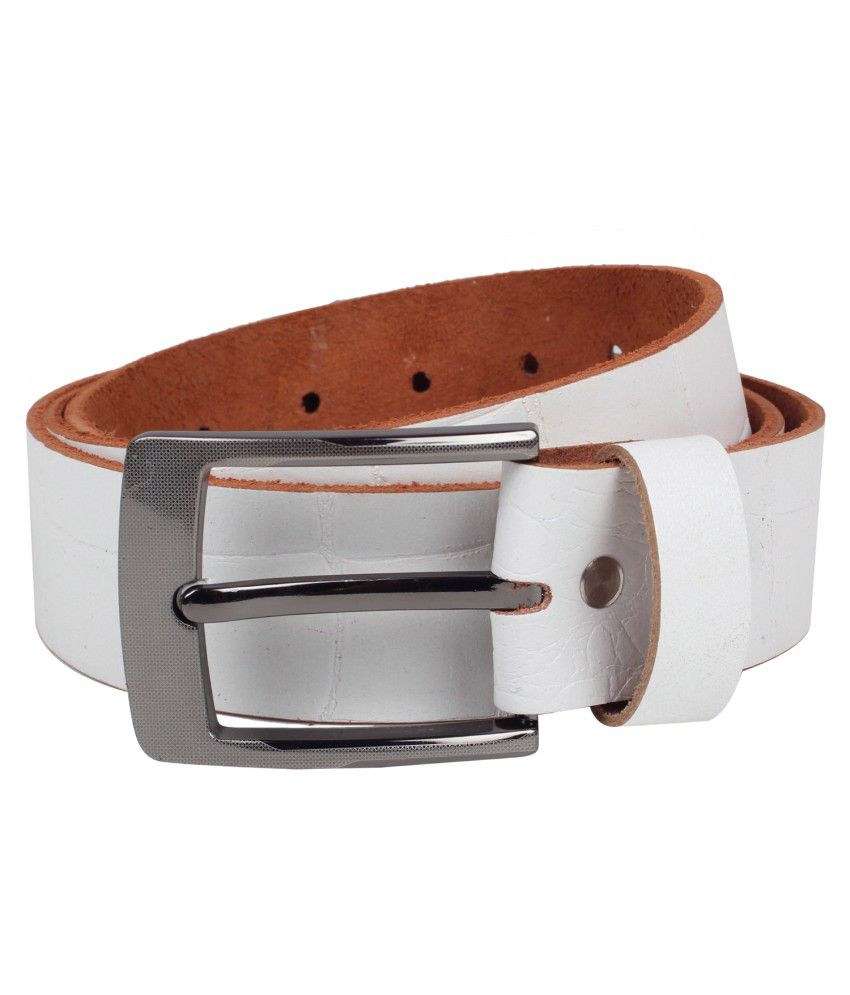 Exotique White Leather Belt