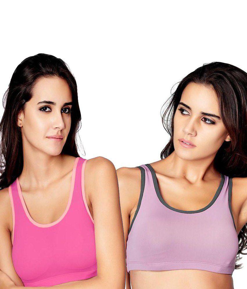 Restless Restless Pink And Dark Pink Set Of 2 Polyamide Sports Bra