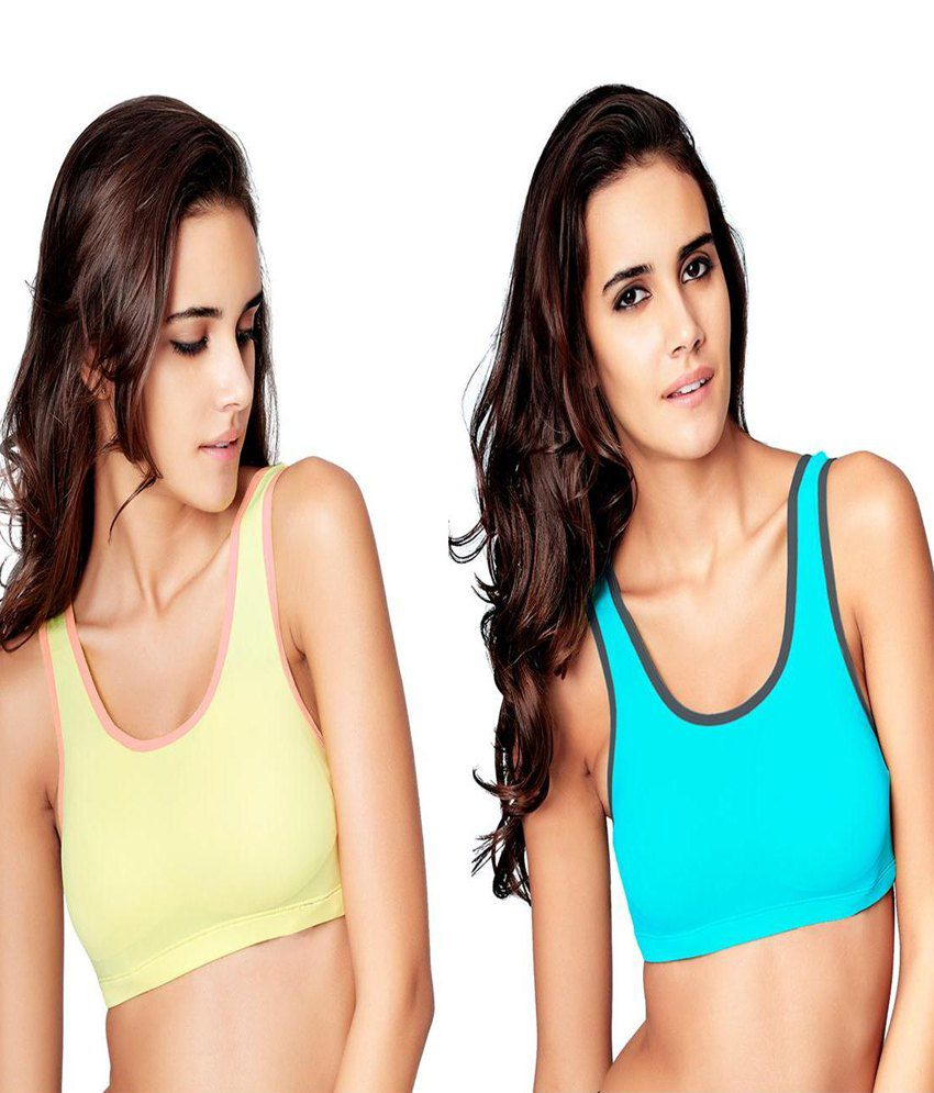 Restless Restless Yellow And Blue Set Of 2 Polyamide Sports Bra