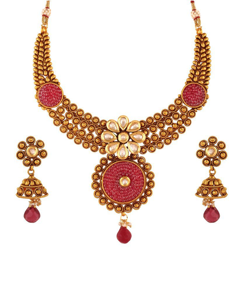 Accessher Multicolor Brass & Copper Necklace Set