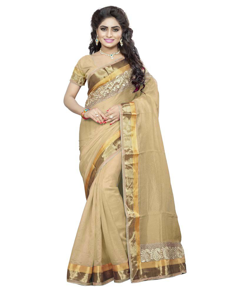 Asha Fashion Beige Bhagalpuri Silk Saree