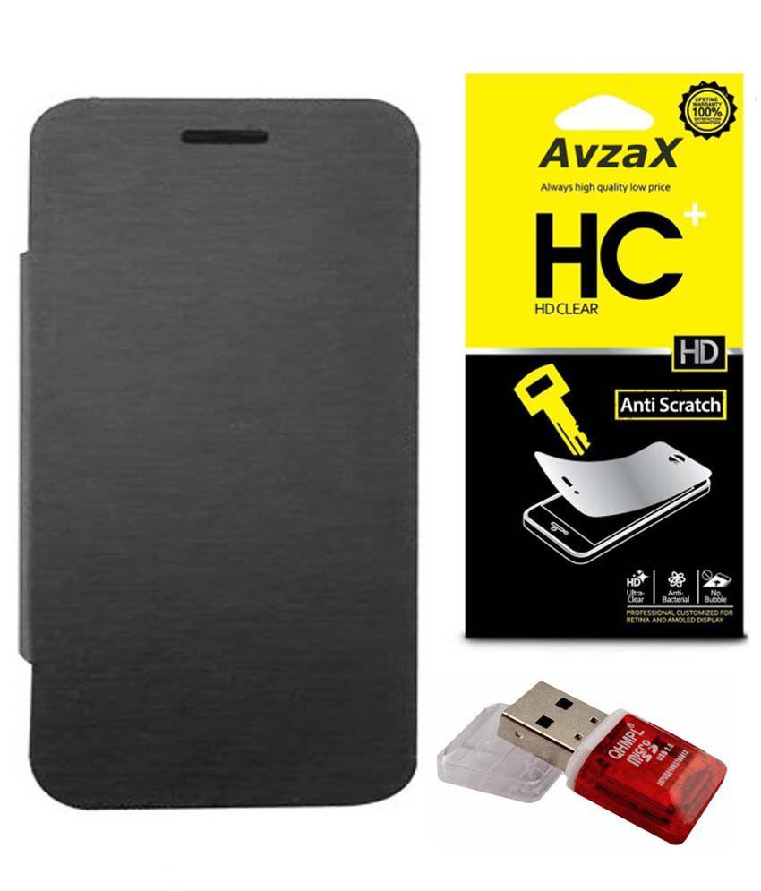 Avzax Combo Of Flip Cover, Screen Guard & Card Reader For Micromax Unite 2 A106 - Black