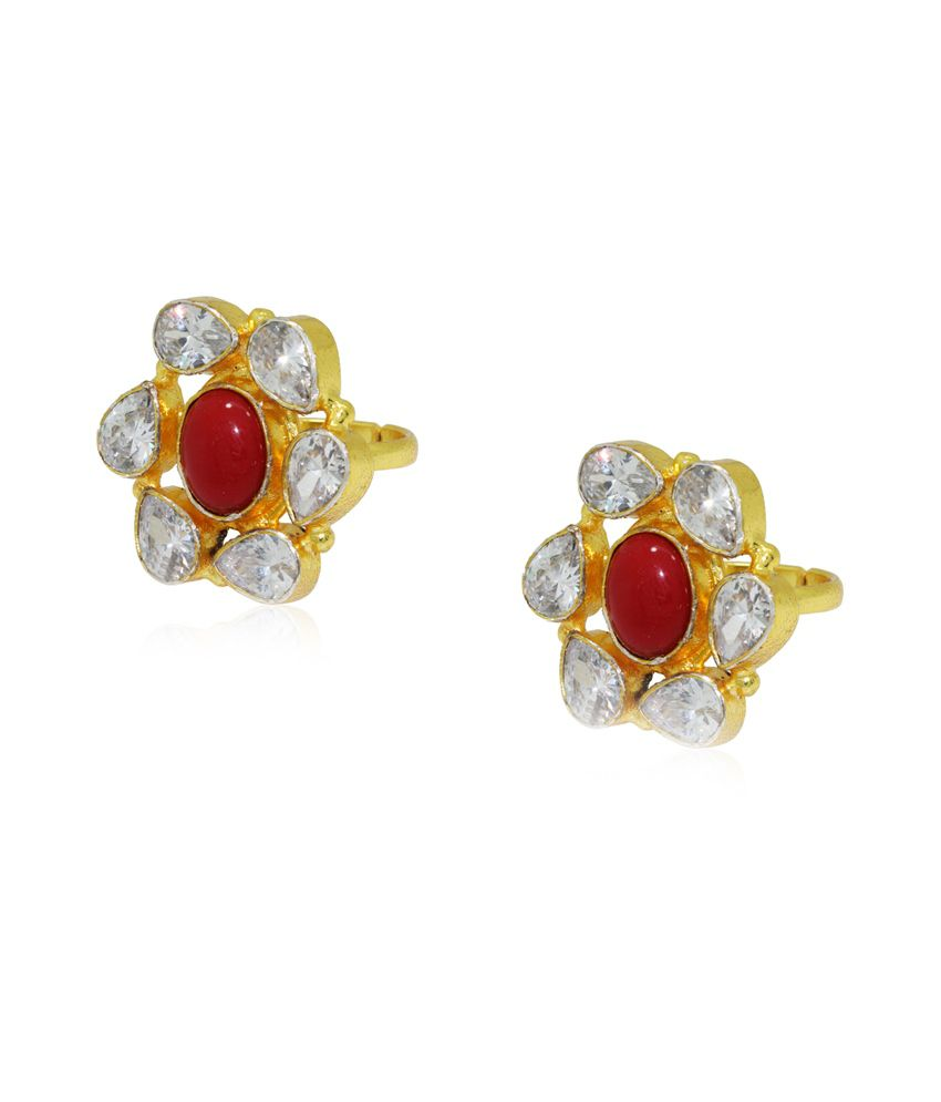 Frabjous Red Zircon German Silver Toe Ring