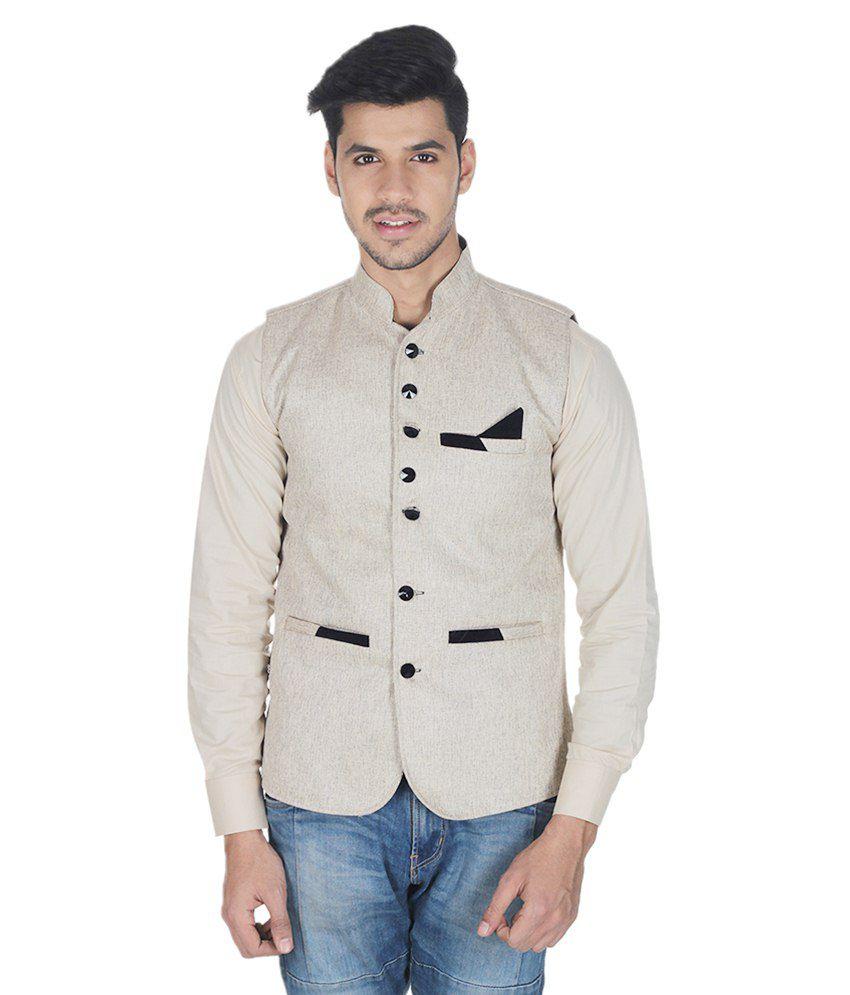 Selfieseven Beige Cotton Blend Waistcoat