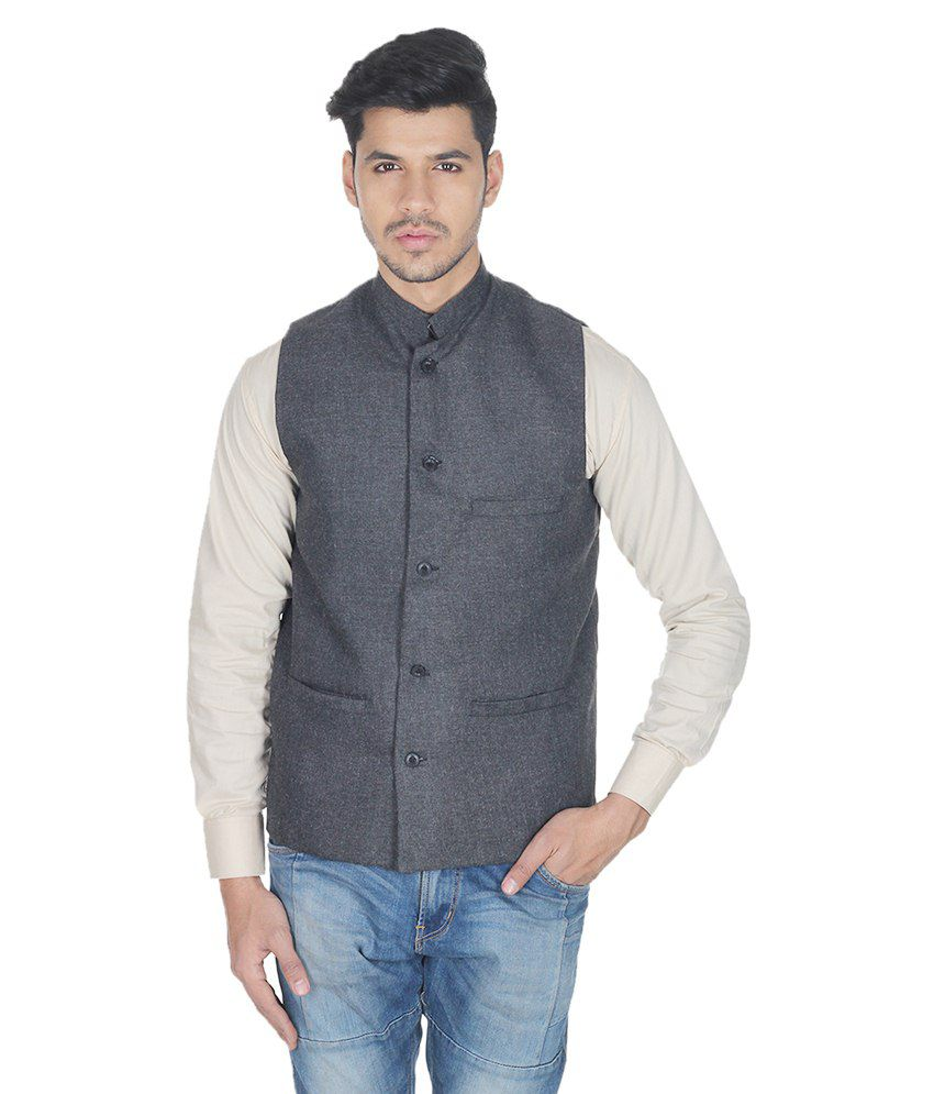 Selfieseven Black Cotton Blend Waistcoat