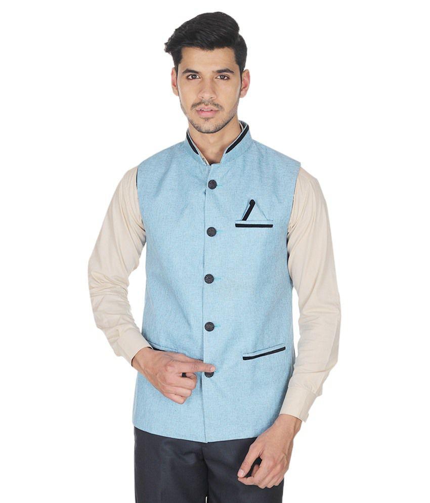 Selfieseven Blue Cotton Blend Waistcoat