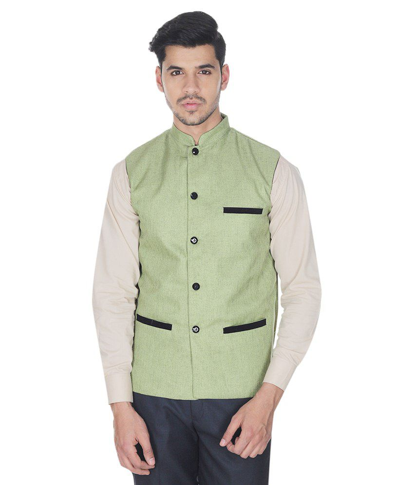Selfieseven Green Cotton Blend Waistcoat