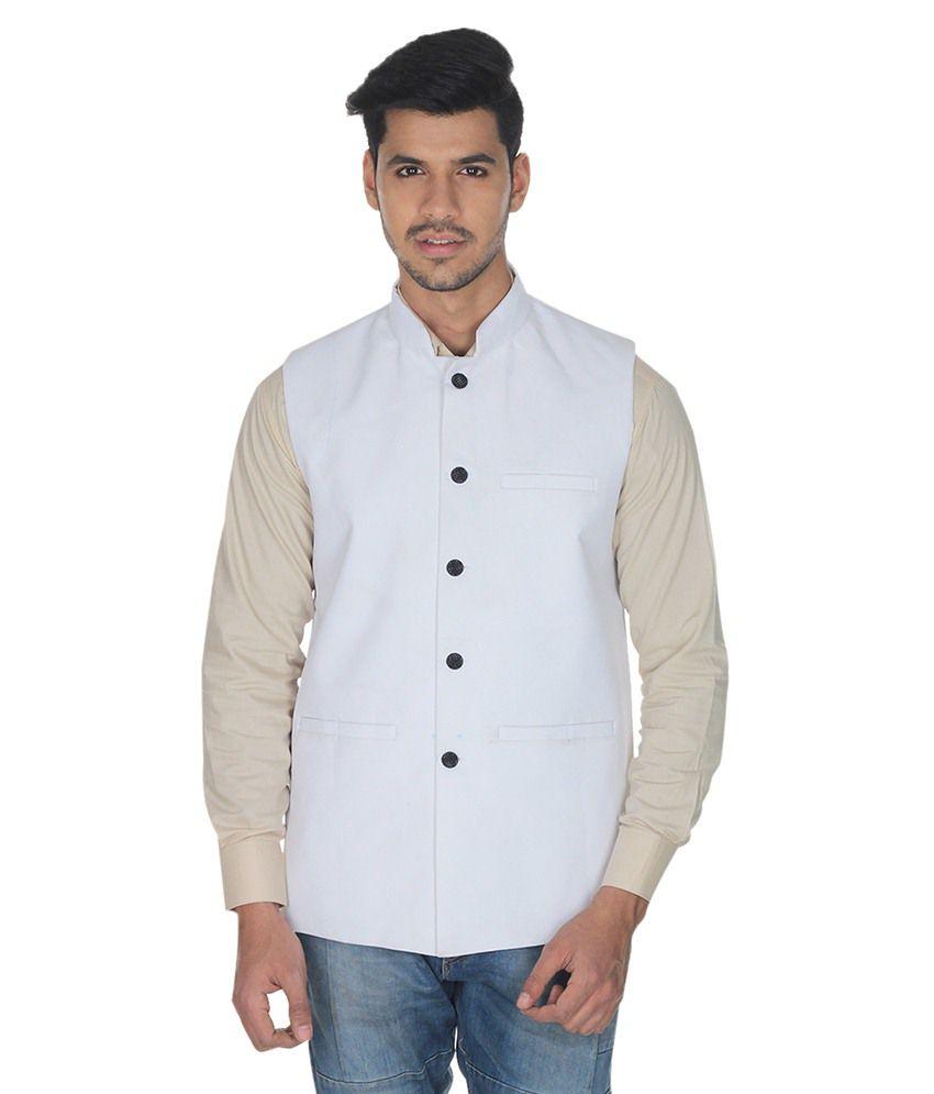 Selfieseven White Cotton Blend Waistcoat
