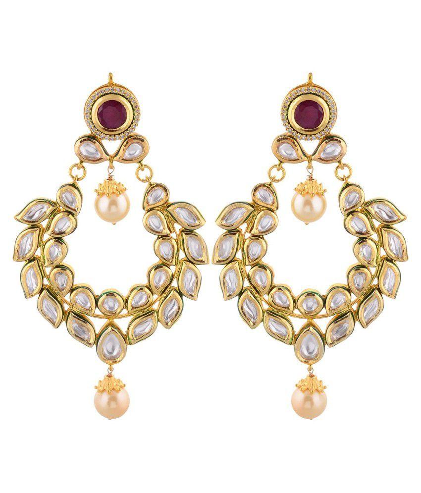 Artificial Jewellerycom Golden Kundan Studded Drop Earrings