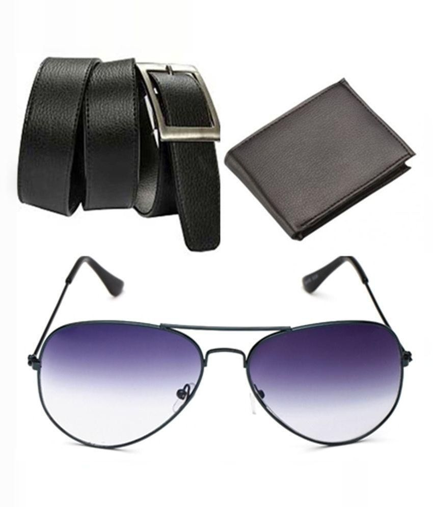 Daller Black Casual Belt With Wallet and Sunglasses For Men