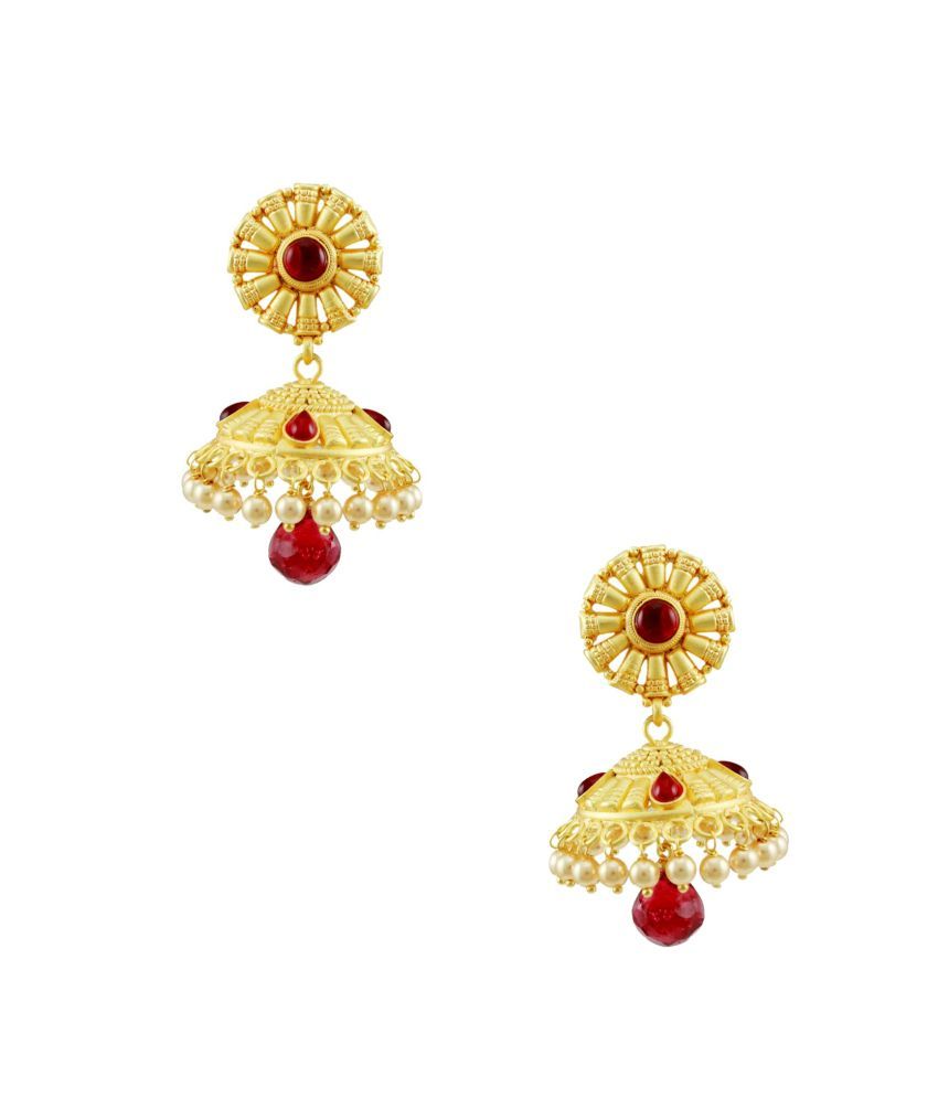 Orniza Red Brass Earrings