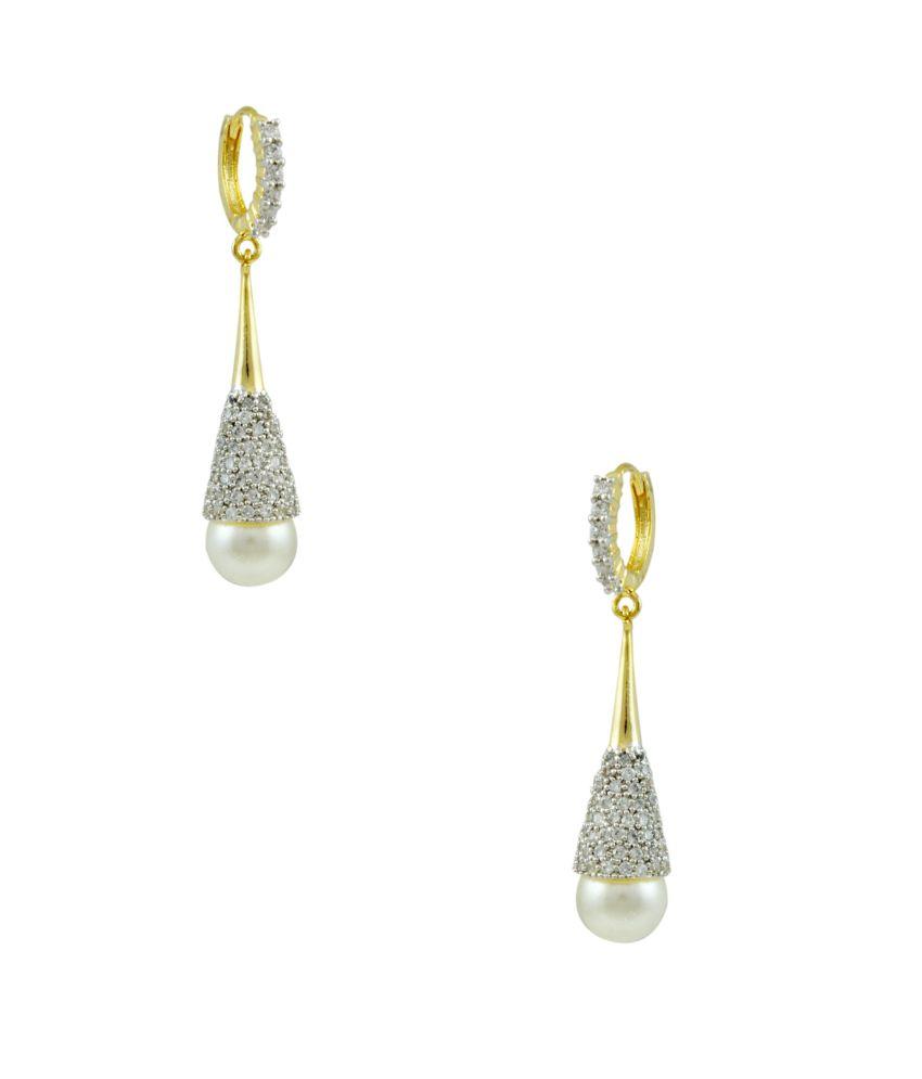Orniza White Brass Earrings