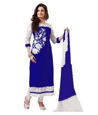 Women Party Wear Designer Salwar Suits Blue Faux Georgette ...