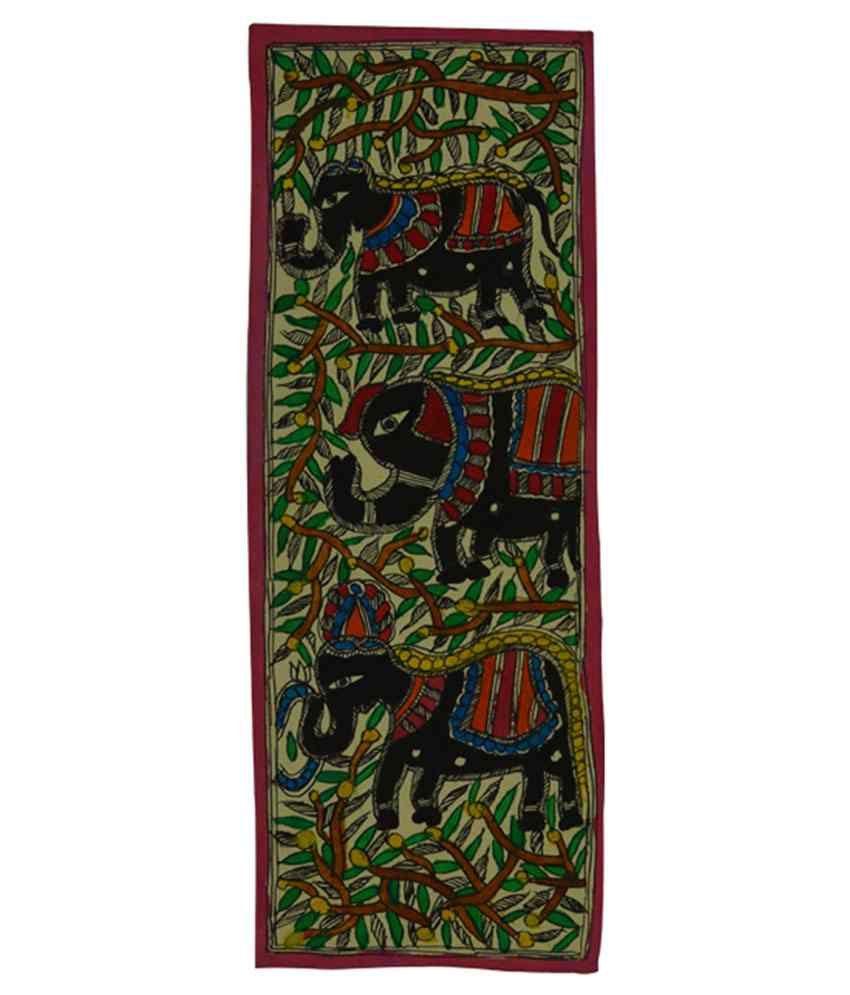 Craftuno Glossy Elephant Family Folk Art Painting
