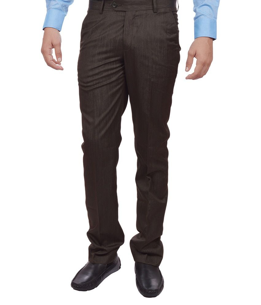 Sangam Apparels Brown Slim Fit Formal Trousers
