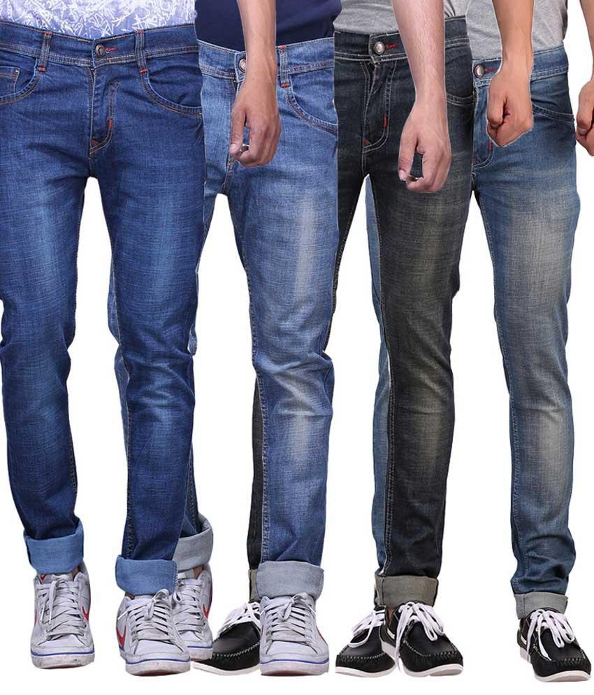 X-cross Combo Of 4 Blue & Black Slim Fit Jeans
