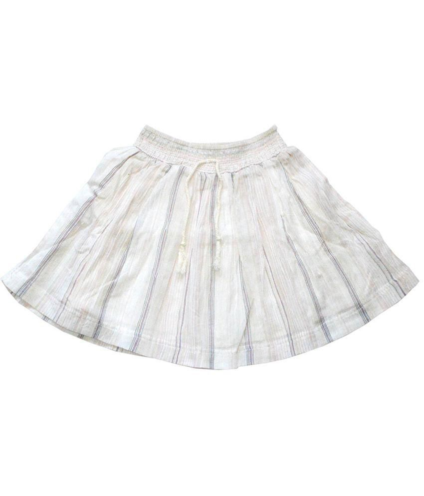 Young Birds White Cotton Crinkle Stripe Skirt