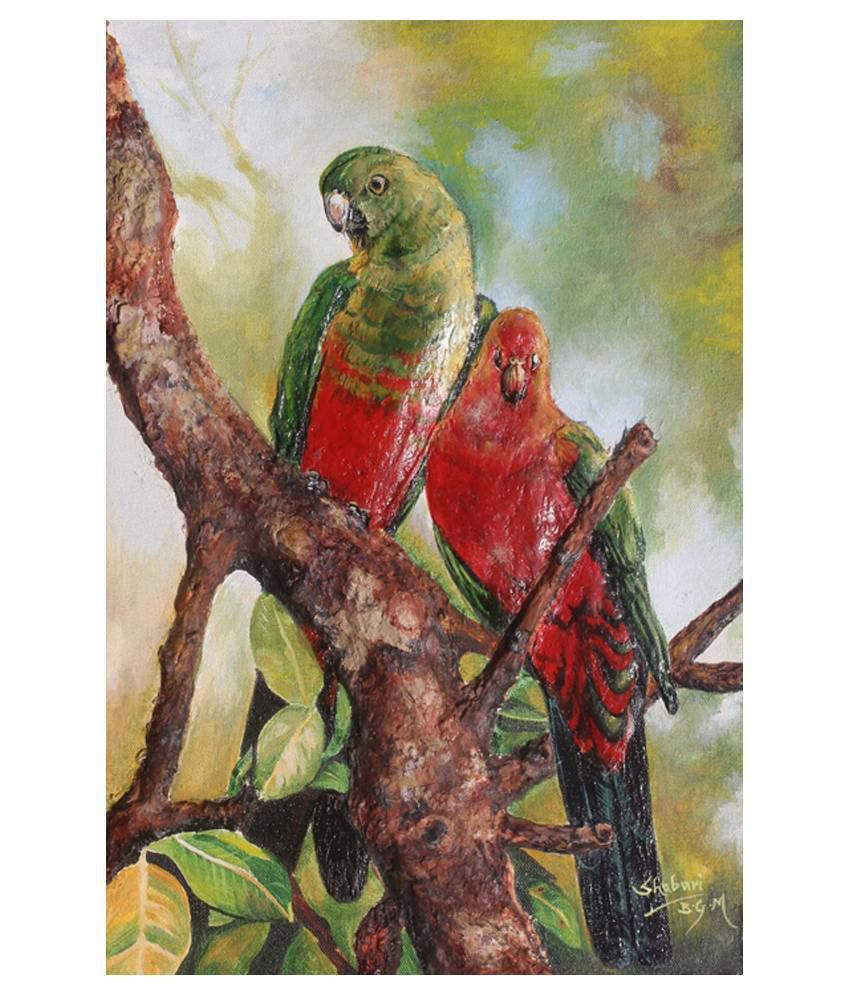 Buttistore Red Acrylic Love Birds Painting