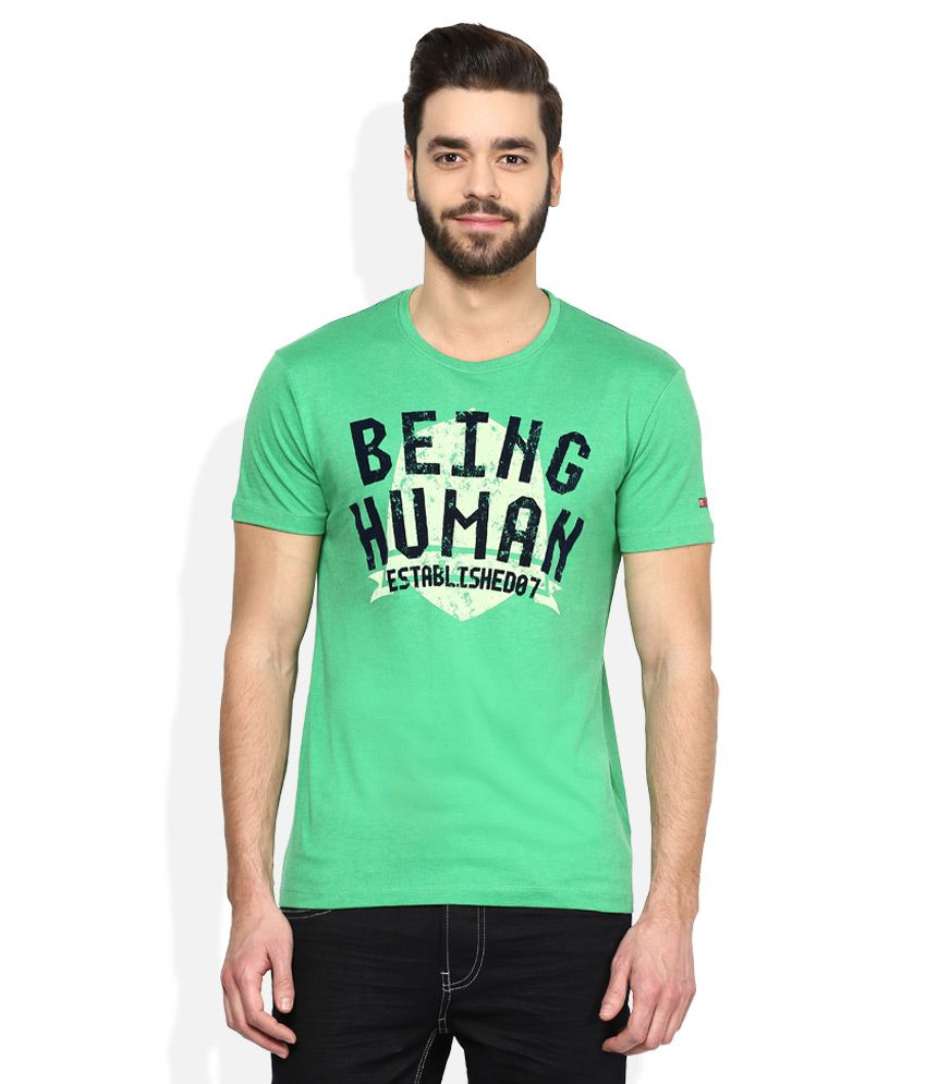 Being Human Green Printed Round Neck T Shirt
