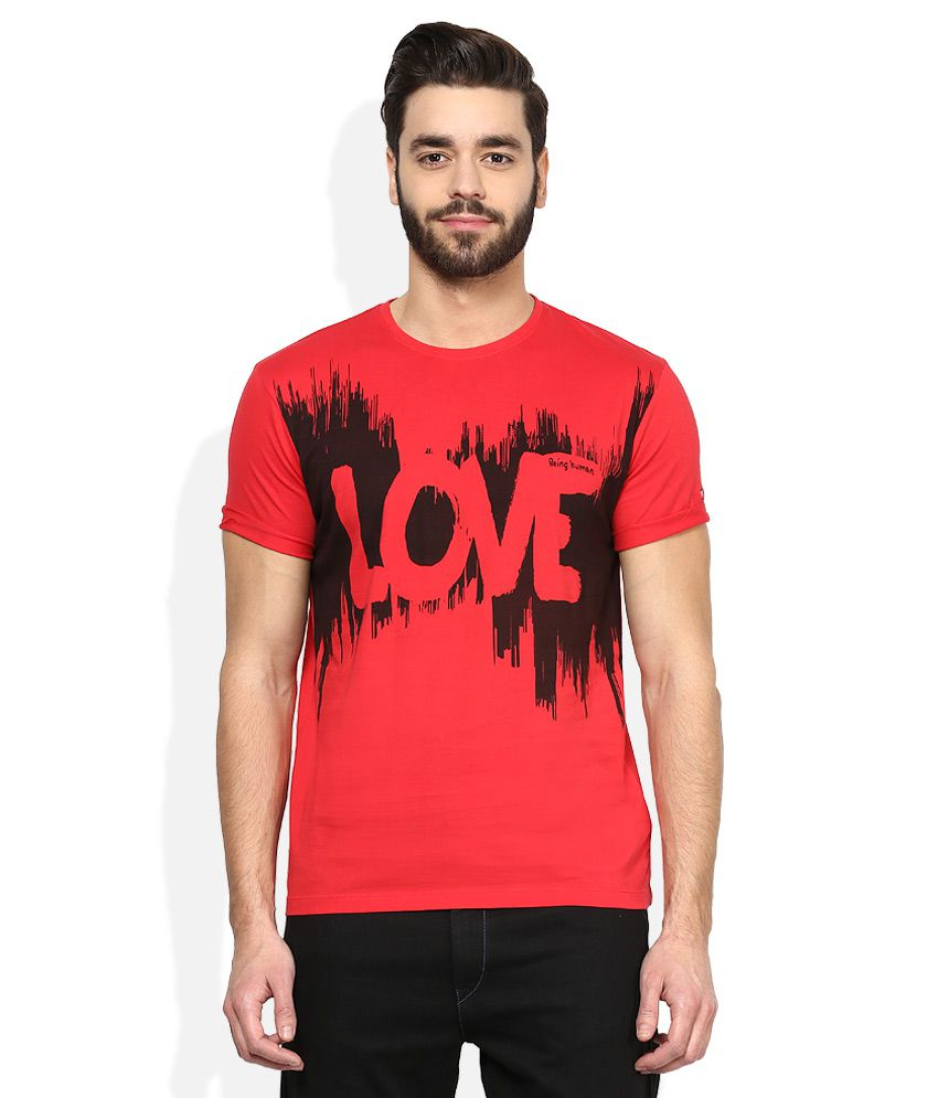 b1945e51610f49 Being Human Red Printed Round Neck T Shirt - Buy Being Human Red Printed  Round Neck T Shirt Online at Low Price - Snapdeal.com