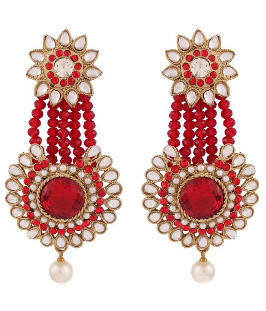 I Jewels Red Alloy Hanging Earrings