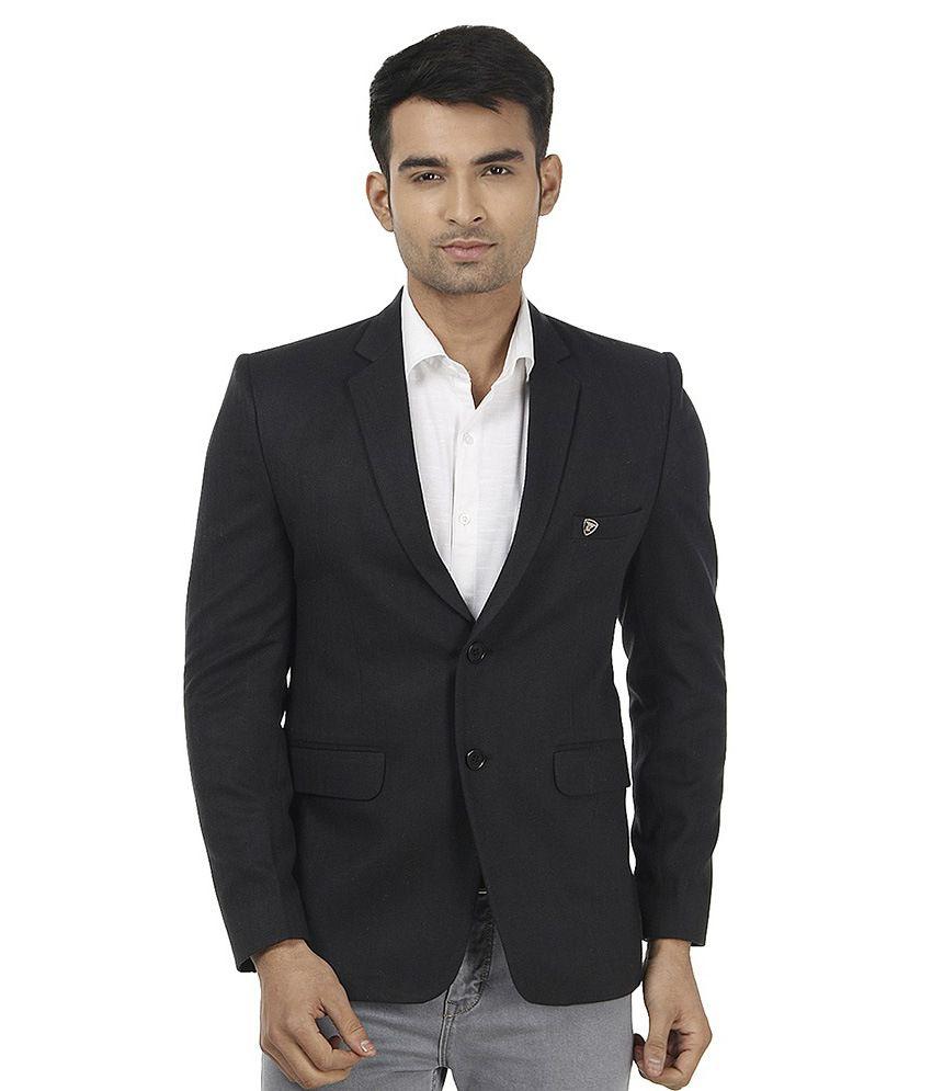 Platinum Studio Black Woollen Casual Blazer