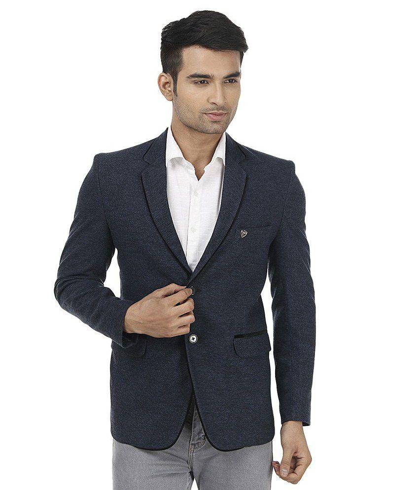 Platinum Studio Blue Woollen Casual Blazer