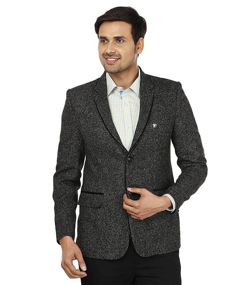 Platinum Studio Grey Woollen Casual Blazer