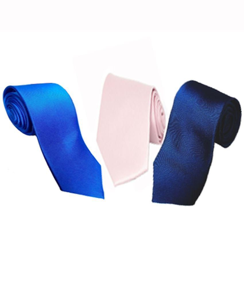 Wholesome Pink and Blue Microfiber Narrow Tie   Pack of 3