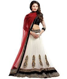 Greenvilla Designs White Net Lehenga