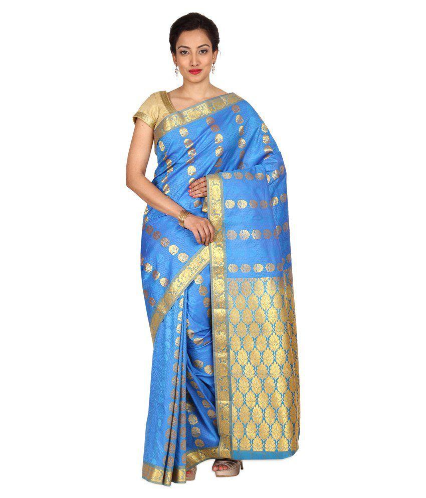 Platinaa Blue Art Silk Saree