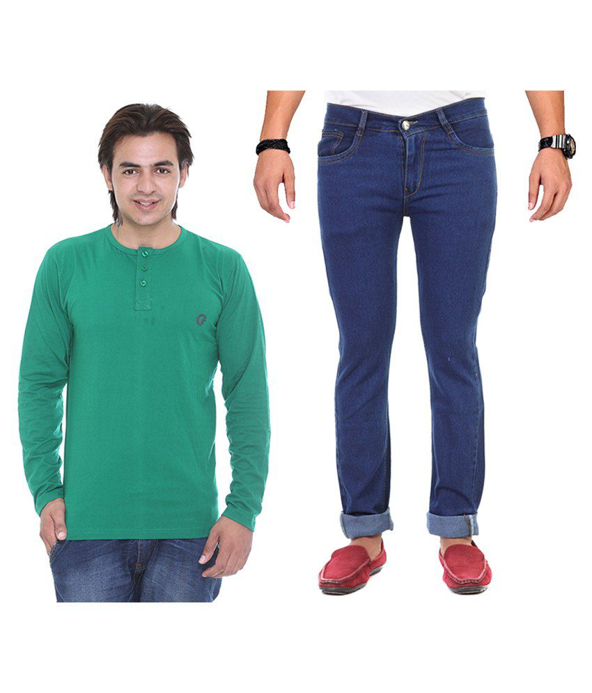 Ave Blue Regular Fit Jeans With Green Full Sleeve T Shirt