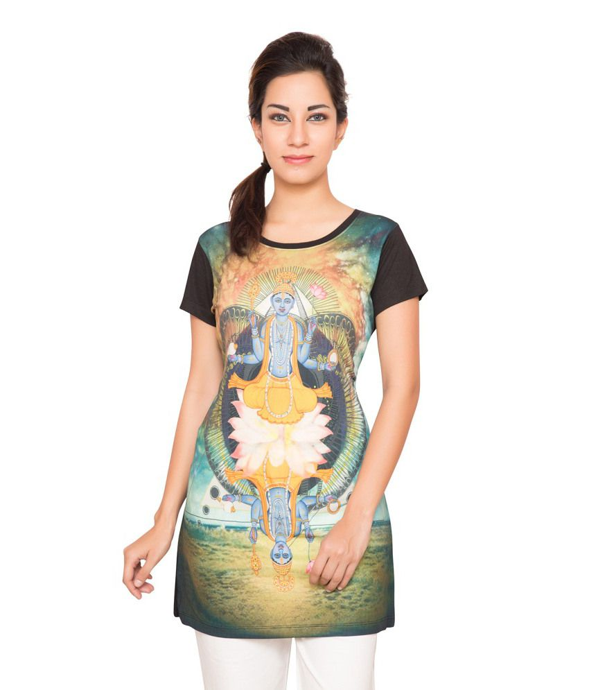 Foreveryoga Digital Printed Long Tee - Green And Black