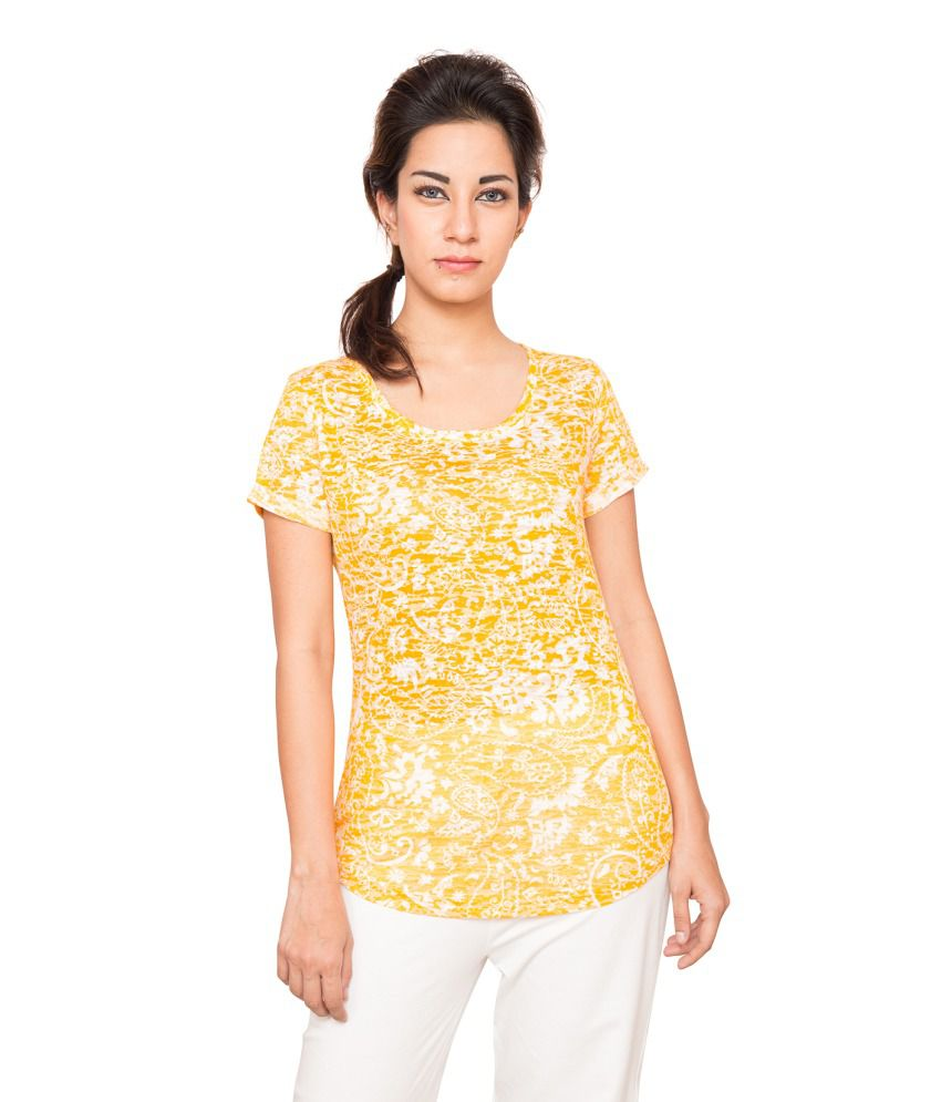 Foreveryoga Printed Burnt Out Tee - Yellow