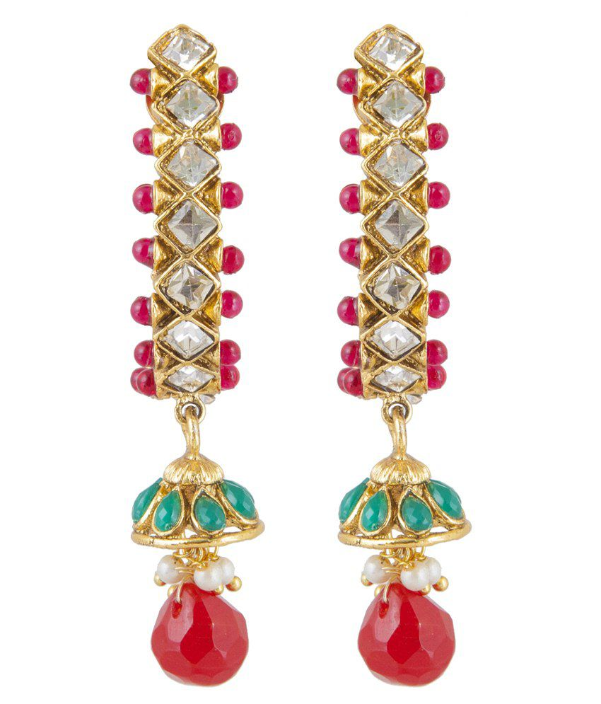 Inaya Red Alloy Drop Earrings