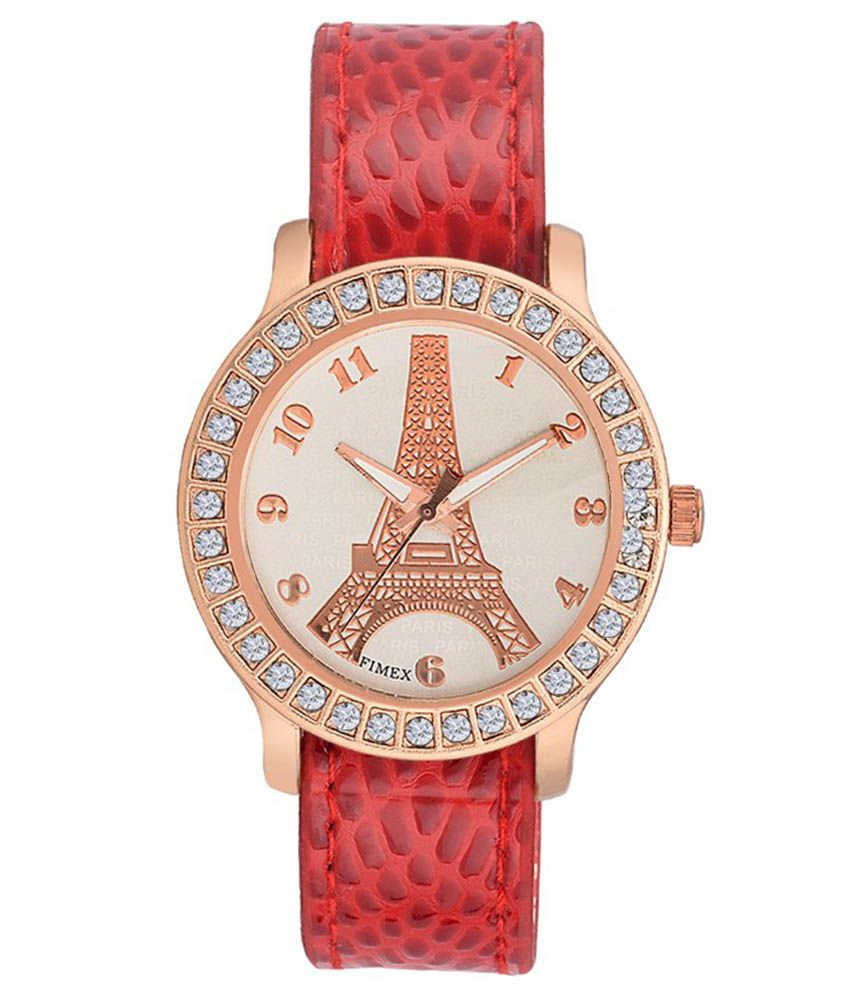 Meclow Red Leather Analog Watch