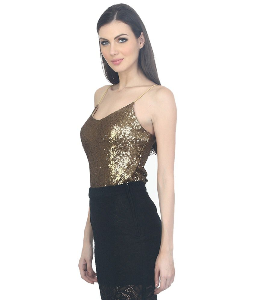 25326eab Buy Faballey Gold Sequin Camisoles Online at Best Prices in India ...