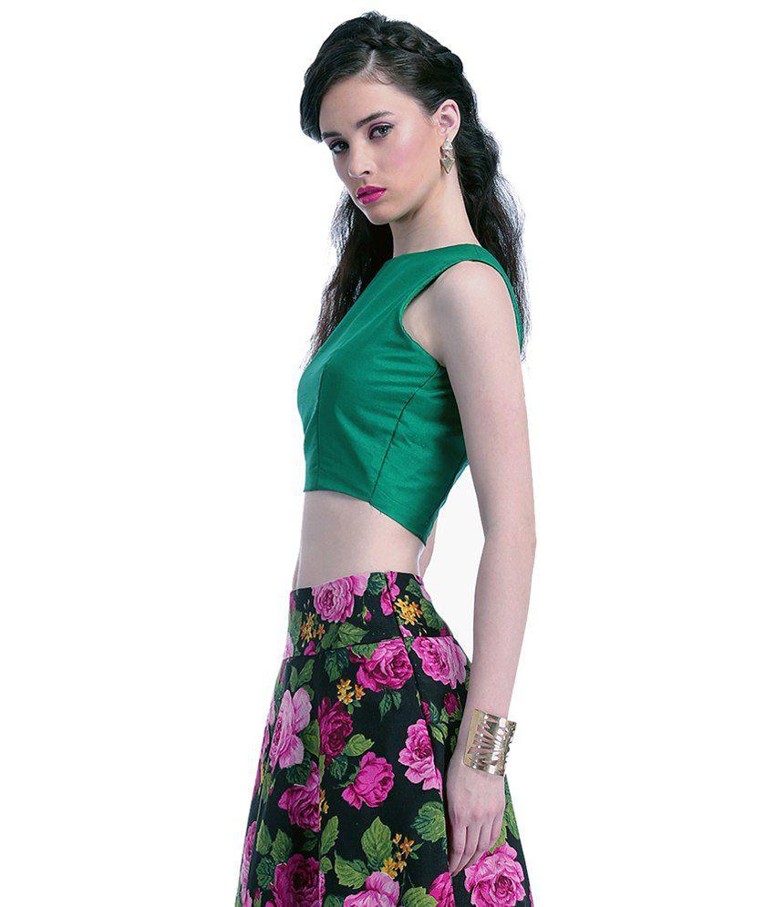7b4cc496bc Faballey Green Silk Crop Top - Buy Faballey Green Silk Crop Top ...