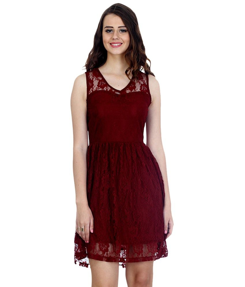 f0134eda719e Faballey Maroon Lace Dresses - Buy Faballey Maroon Lace Dresses Online at  Best Prices in India on Snapdeal