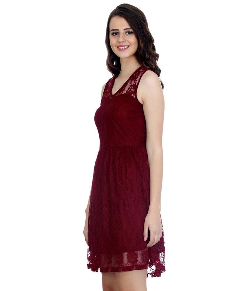 9156ffe138b7 Faballey Maroon Lace Dresses - Buy Faballey Maroon Lace Dresses ...