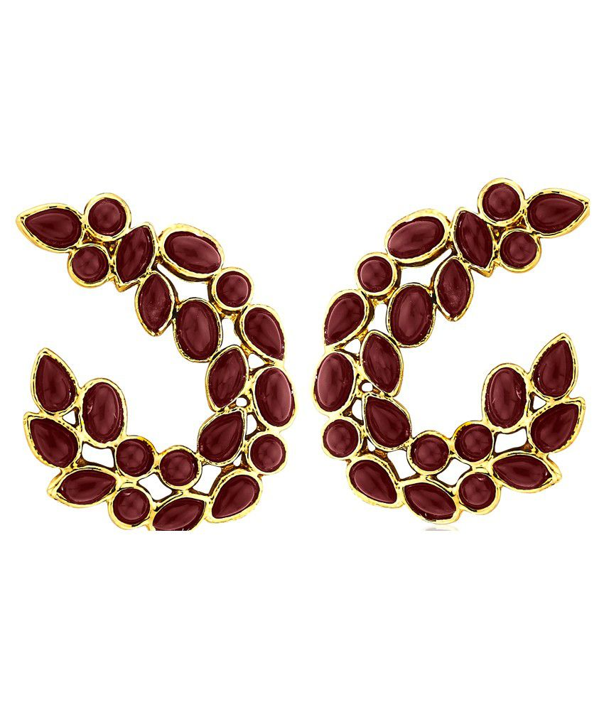 Kshitij Jewels Brown Alloy Stud Earrings