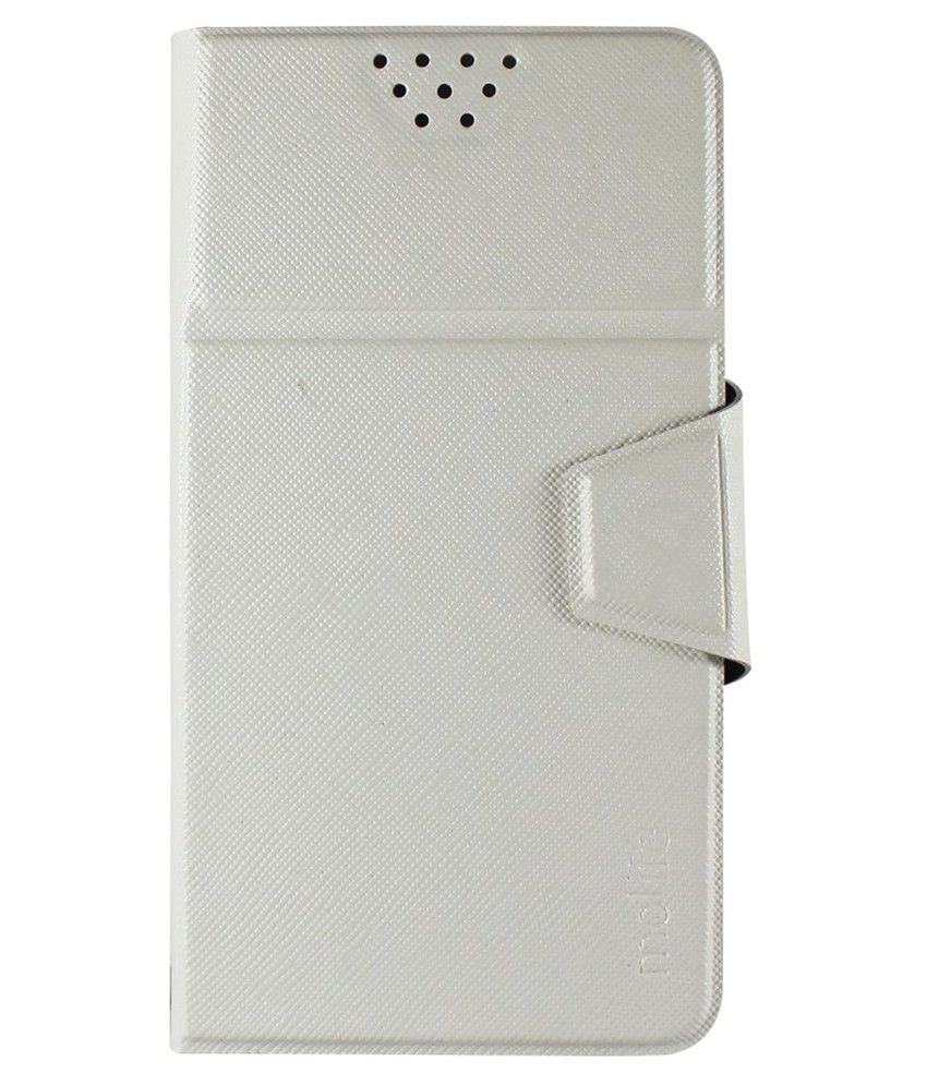 Molife Universal   Flip Cover For Philips S309 - White