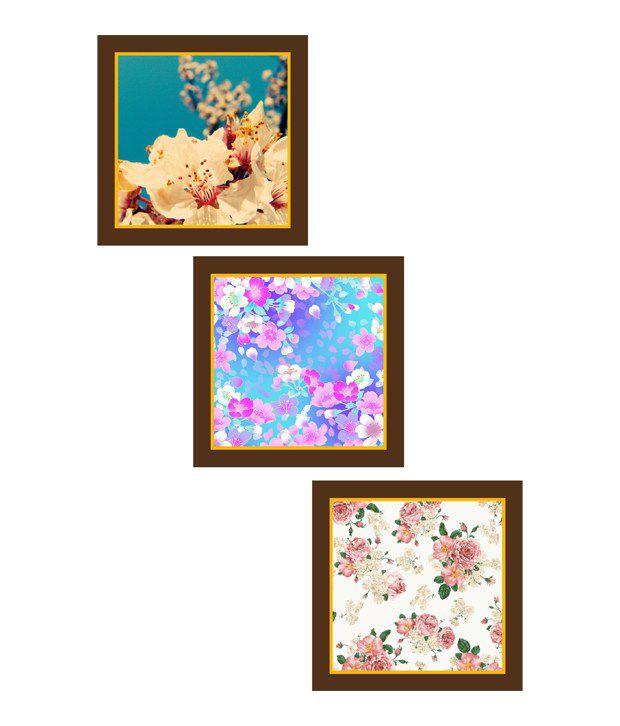 Go Hooked Flowers Art Paintings - Set Of 3