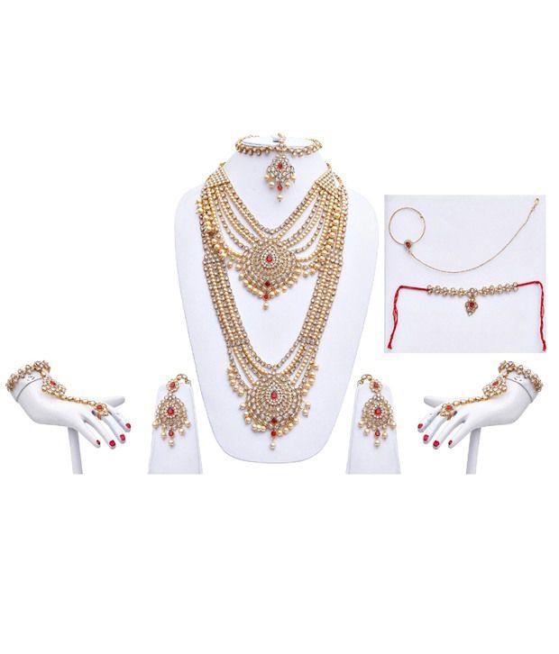 Lucky Jewellery Golden Alloy Bridal Necklace Set
