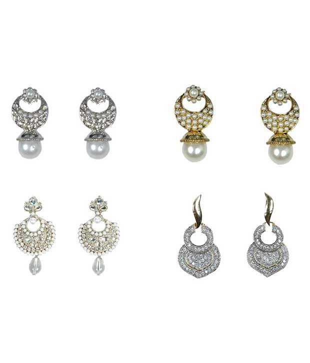 Rashi Jewellery Silver Alloy American Diamond Earring Combo - 3 Pair