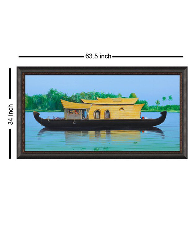 Elegant Arts And Frames Textured House Boat Painting