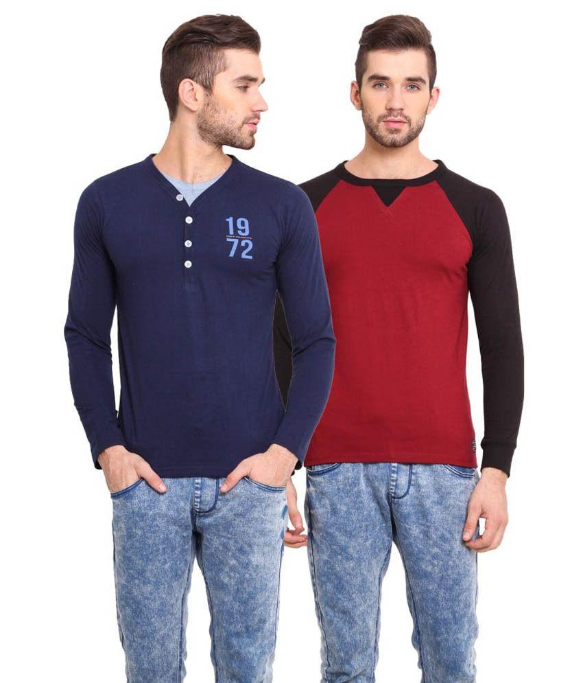 Western Vivid Multicolour Cotton Blend T-Shirt Pack of 2
