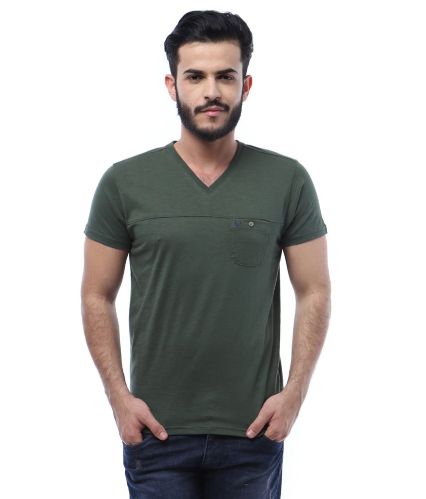 Allen Solly Green V-Neck Half Sleeves Solids T-Shirt